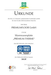 Certificate about the very good results of PREMIUM THERME in DLG FokusTest